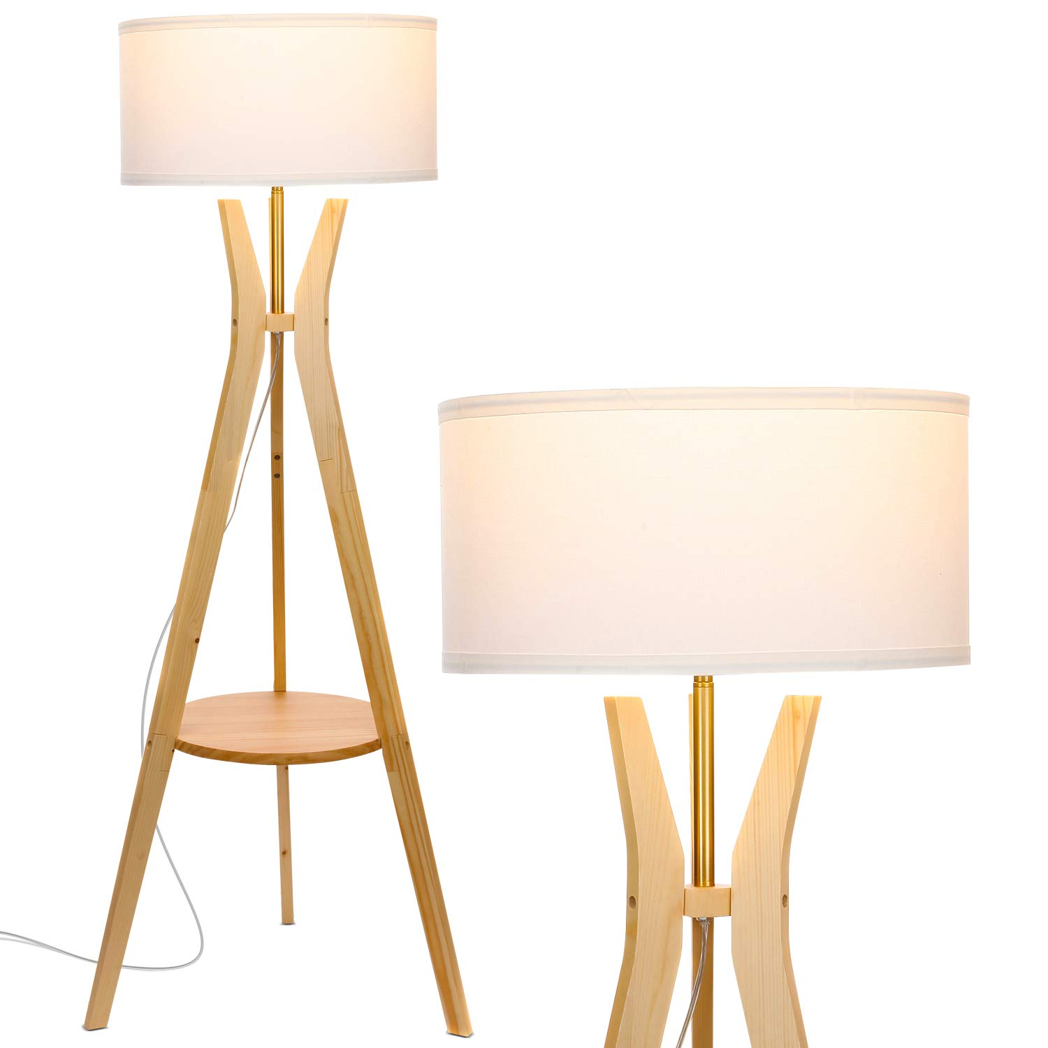 Brightech Charlotte Rustic Shelf LED Floor Lamp – Tripod Standing Light for Mid Century Modern Living Rooms Bedrooms – Contemporary, Tall Office Lamp – Drum Shade – Includes LED Bulb