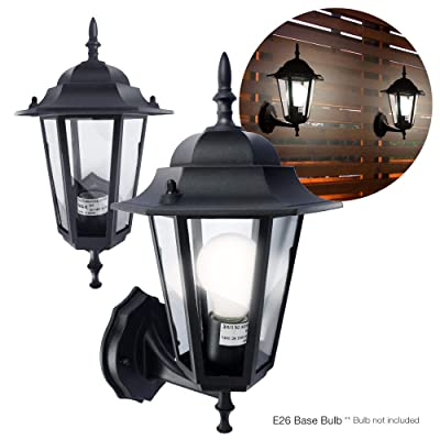 ETOPLIGHTING |2-Pack| Matte Black Aluminum Exterior Outdoor Wall Lantern for Porches, Entrances, Garages, Patios, APL1713