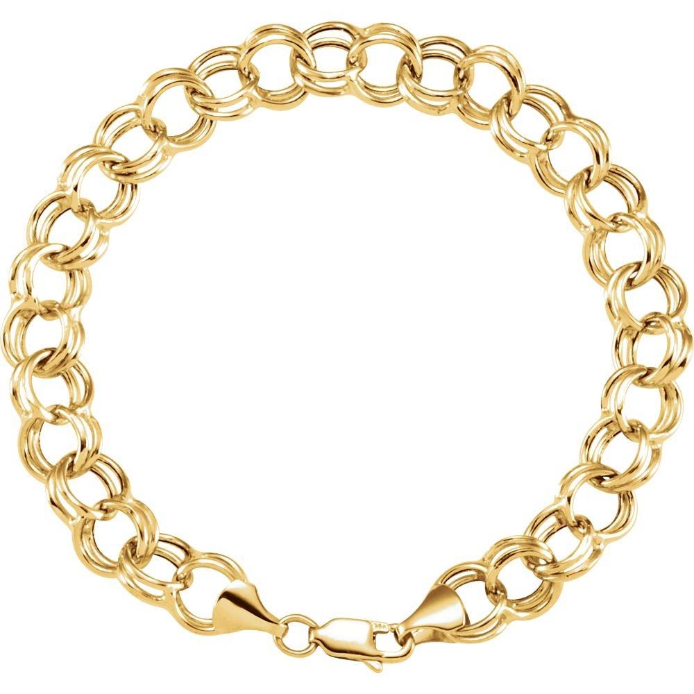 "5.7mm Double Link Charm Bracelet in 14K Yellow Gold, 7.25"" Long"