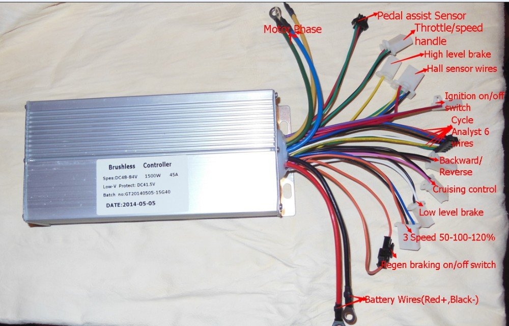 61Oe wCsgcL._SL1000_ amazon com 15 mosfets 48 84v 1500w 45amax dual mode sensor 48 volt electric scooter wiring diagram at mifinder.co