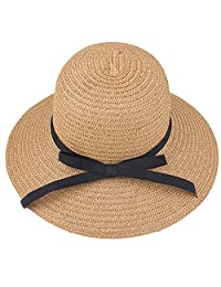 YHBAO Floppy Beach Hat for Women Large Brim Straw Sun Hats Roll up Packable UPF 50+