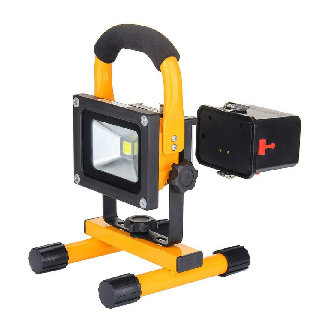 10W Work Light: LOFTEK Portable LED Outdoor Flood Light and Detachable 4400mAh Battery with Car Charger, Waterproof, 700-900lm,Yellow