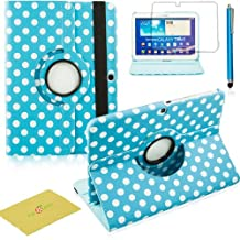 Fulland Colorful 360 Rotating Flip Leather Case Cover for Samsung Galaxy Tab3 10.1 P5200 with Smart Auto Wake/Sleep Function plus Stylus Touch Screen Pen and Screen Protector-Polka Dot Blue/White