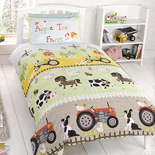 Apple Tree Farm Junior/Toddler Duvet Cover & Pillowcase - Tree Tractor