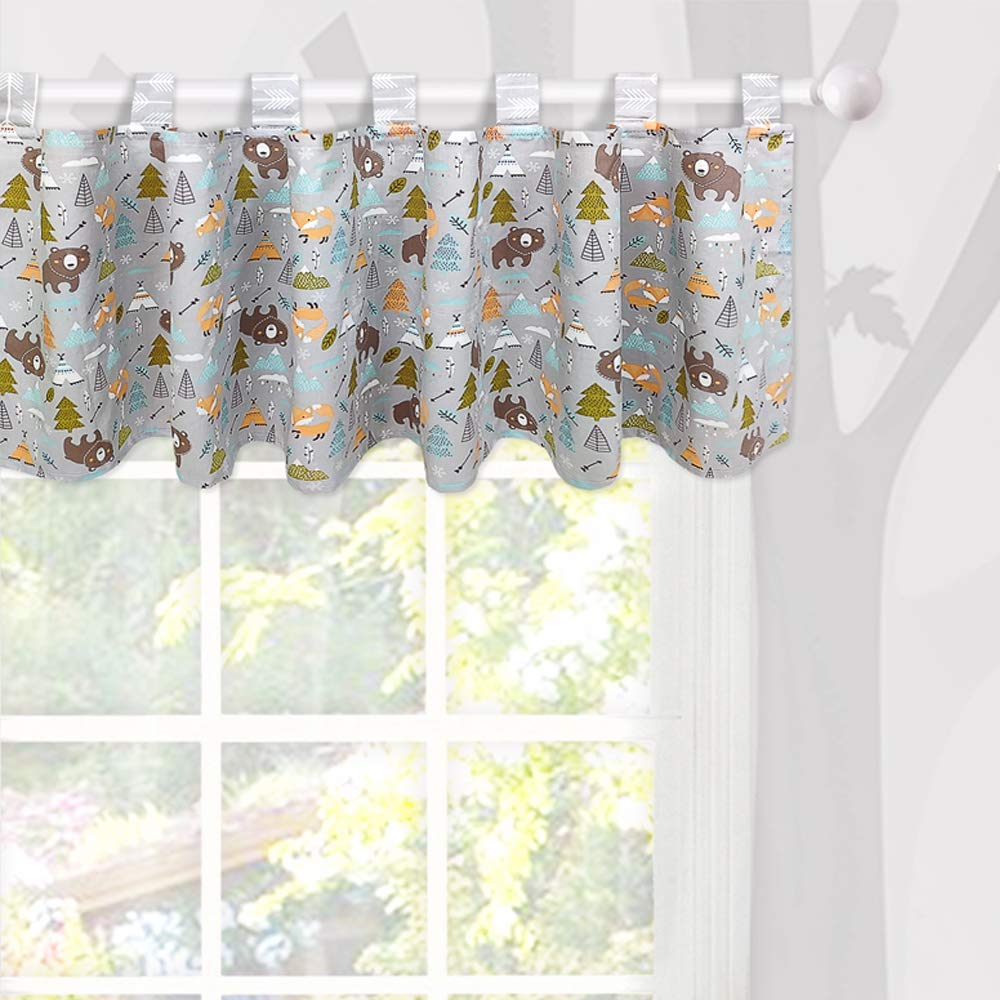 Brandream Window Valance Cotton Curtain for Baby/Toddler/Kid Bedroom Bath Laundry Living Room Decor, Woodland Bear Fox Arrow Pattern by Brandream