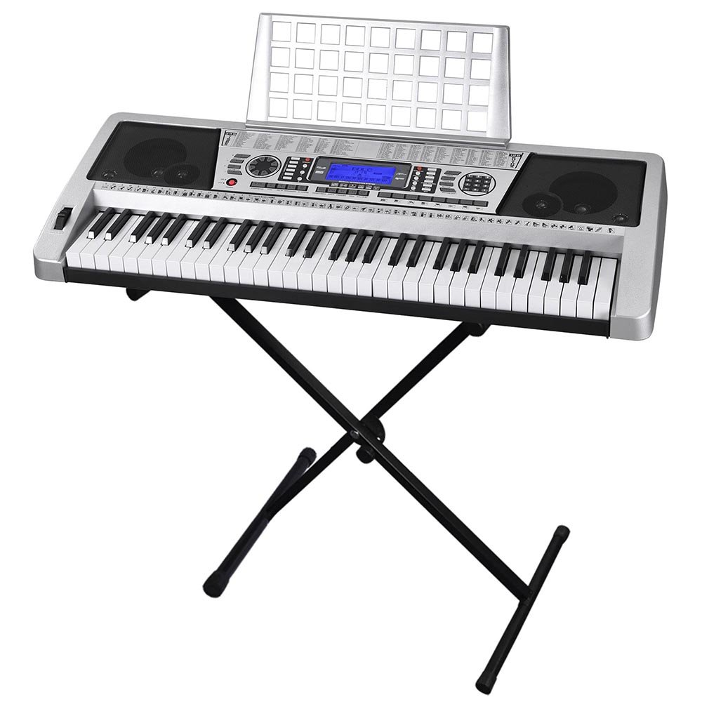 61 Key LCD Display Electronic Keyboard 37'' w/Black Adjustable X-Stand Piano Music Electric Silver