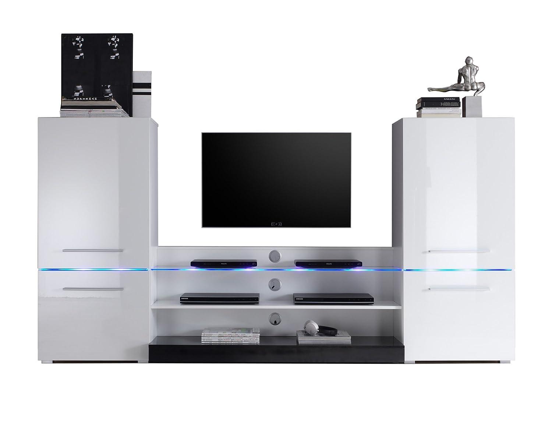 Easyfurn Tv Meubel.Easyfurn Flash Wall Unit In High Gloss White Includes Led Lights