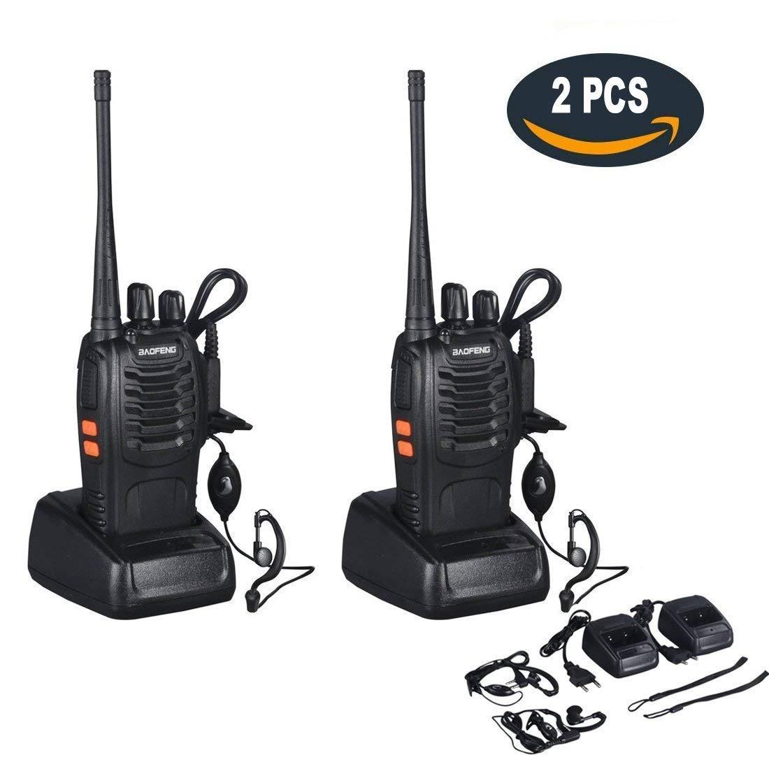 Dpower BF-888S Walkie Talkie 16 Canales UHF 400-470MHz 105 CDCSS Recargable Alcance de hasta 3 Km con Auriculares (Un par)