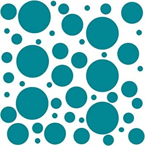 Set of 100 (Turquoise) Vinyl Wall Decals - Assorted Polka Dots Stickers - Removable Adhesive Safe on Smooth or Textured Walls - Round Circles - for Nursery, Kids Room, Bathroom Decor