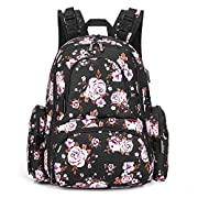 CoolBELL Baby Diaper Backpack Bag With Insulated Pockets/Water-resistant Baby Bag/Multi-functional Travel Knapsack With USB charging Port (Black Rose)