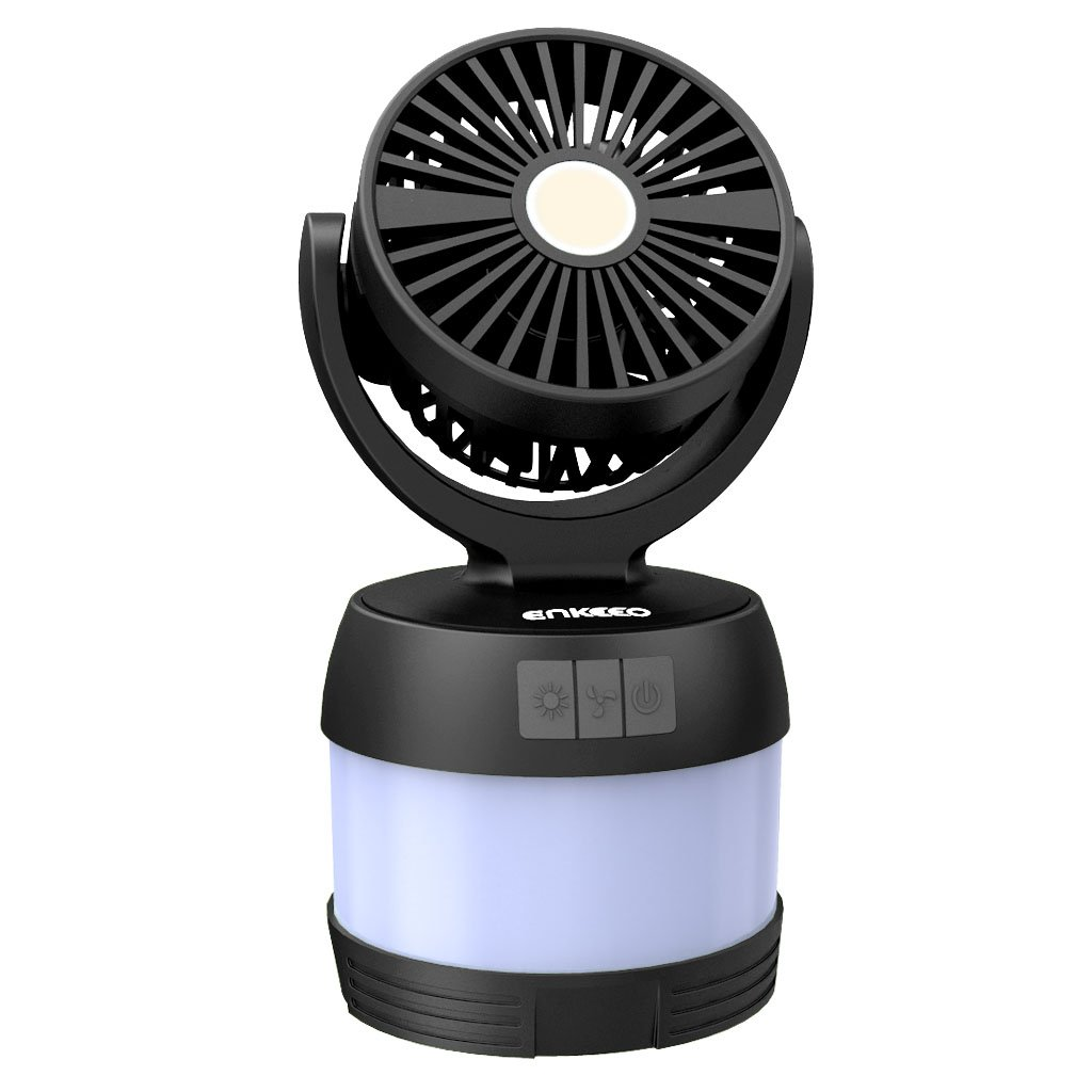 ENKEEO Portable 4-in-1 LED Camping Lantern Ceiling Fan and Power Bank, Desk Fan Bedside Lamp for Office Tent Camping Backpacking Fishing, Black