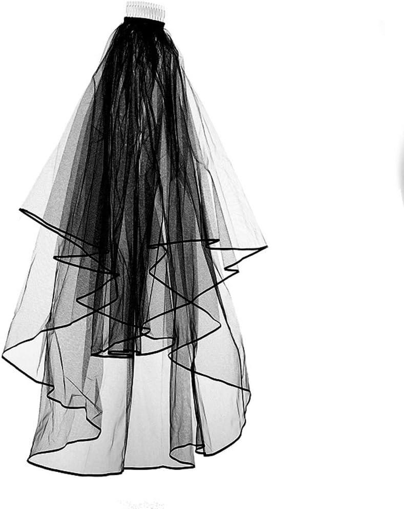 Qinghengyong Forma Elegante Largo Negro Wave Boda Velo de Peine Principal la Novia Decoraci/ón Cabeza Doble-Capas con Peine Accesorios