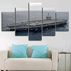 YDME Fall Decor for Home Halloween Decorations Hd Printed Canvas Painting Modern Wall Art Decor 5 Pieces USS John C. Stennis Supercarrier Poster Indoor Decorations -150X80cm