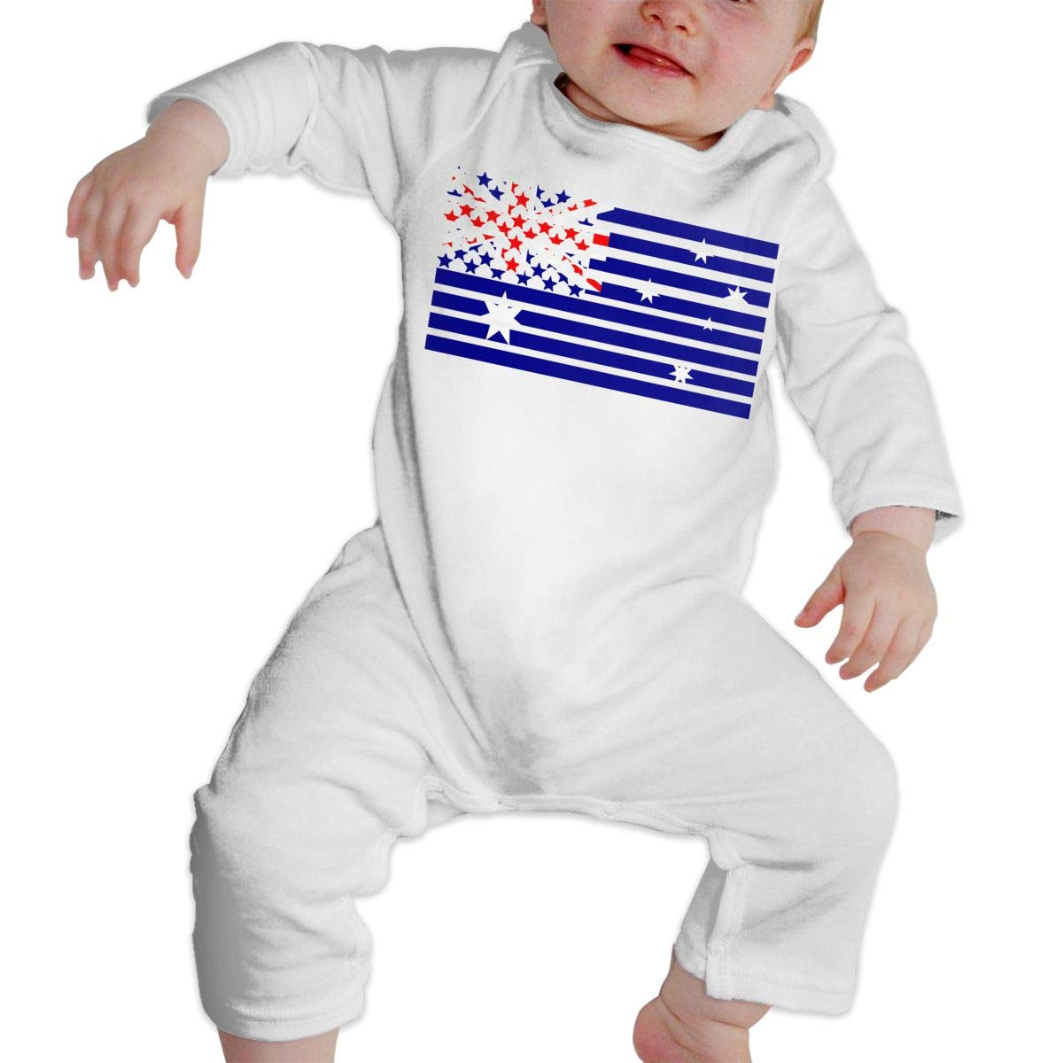 A1BY-5US Infant Baby Girls Cotton Long Sleeve American Australian Flag Climb Romper One-Piece Romper Clothes