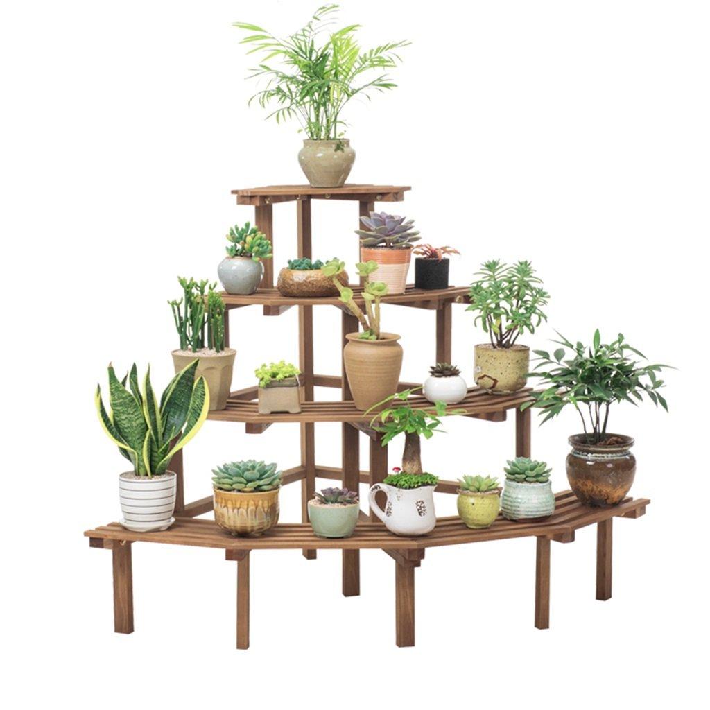 Lan-i Mensola per fioriera in legno massello, angolare a più strati, scala per vasi da fiori 110x75x80cm Scaffale Porta-fiori