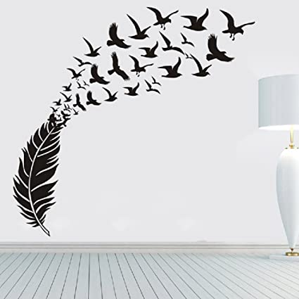 Amaonm X Large Removable Creative D Vinyl Feather And Flying Birds Wall Sticker