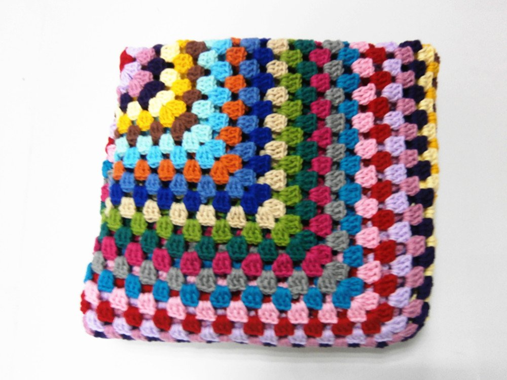 Desconocido Manta de Punto de Lana para sofá, diseño de Rayas de Crochet Hecha a Mano, 104,32 x 104,32 cm, Hecha a Mano, algodón, Rojo, Blanket 110x110 cm: ...