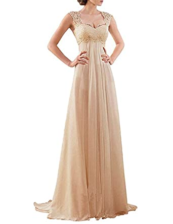 CIRCLEWLD Lace Chiffon Beach Wedding Dresses Long Empire Waist ...