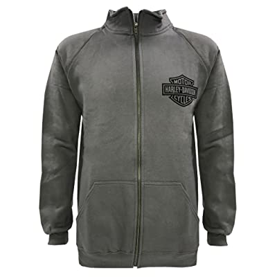 Harley-Davidson Men's Bar & Shield Track Jacket, Charcooal Zip H-D 30296617