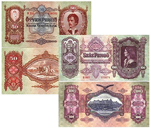 HU 1030 ORNATE GIANT SIZE HUNGARY 50 & 100 PENGO BANKNOTES w HISTORIC VIGNETTES Moderately Circulated VF-XF RANGE