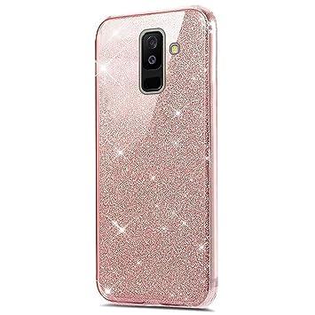 Funda Compatible con Samsung Galaxy J6 Plus Carcasa 360 Grados Silicona,Transparente Silicona Cover Bling Glitter Brillante 360 Grados 3 en 1 ...