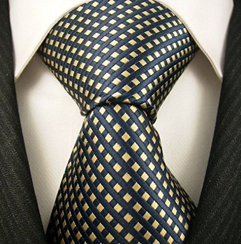 (Neckties By Scott Allan - Navy Blue Yellow Diamond Mens Tie)
