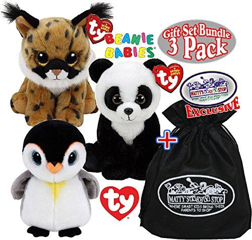 Baby Lynx - TY Beanie Babies Larry (Lynx), Baboo (Panda) & Pongo (Penguin) Gift Set Bundle with Bonus
