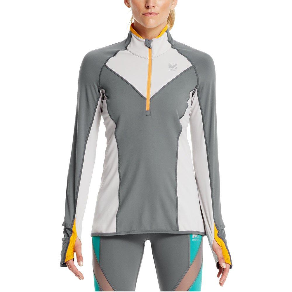 Mission Women's VaporActive Stamina Lightweight 1/4 Zip Long Sleeve Shirt, Quiet Shade/Lunar Rock, Large