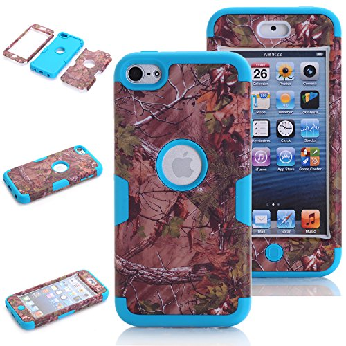 iPod Touch 5th Generation Case Camo, iPod Touch 6th Generation Case, Vodico 3 in 1 Defender Hybrid Tough Armor Shockproof Protective Tree Camo Case with Realtree Camouflage Design Cover (Blue) (Touch Case Ipod Camouflage)