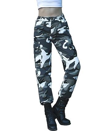 242545ced6eeb gagaopt Women Loose Camouflage Pant,Fashion BDU Cargo Pants,Hip-hop  Streetwear