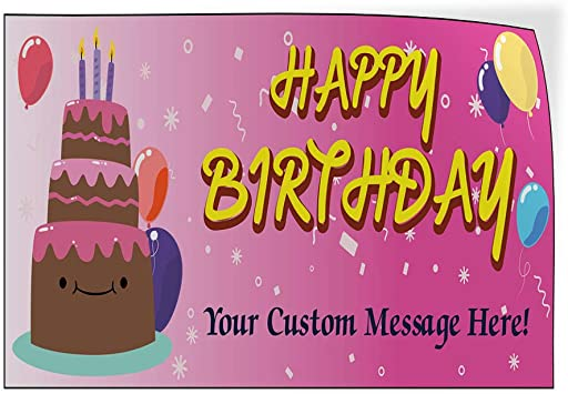 Custom Door Decals Vinyl Stickers Multiple Sizes Happy Birthday Girl Pink B Lifestyle Happy Birthday Signs Outdoor Luggage /& Bumper Stickers for Cars Pink 72X48Inches Set of 2