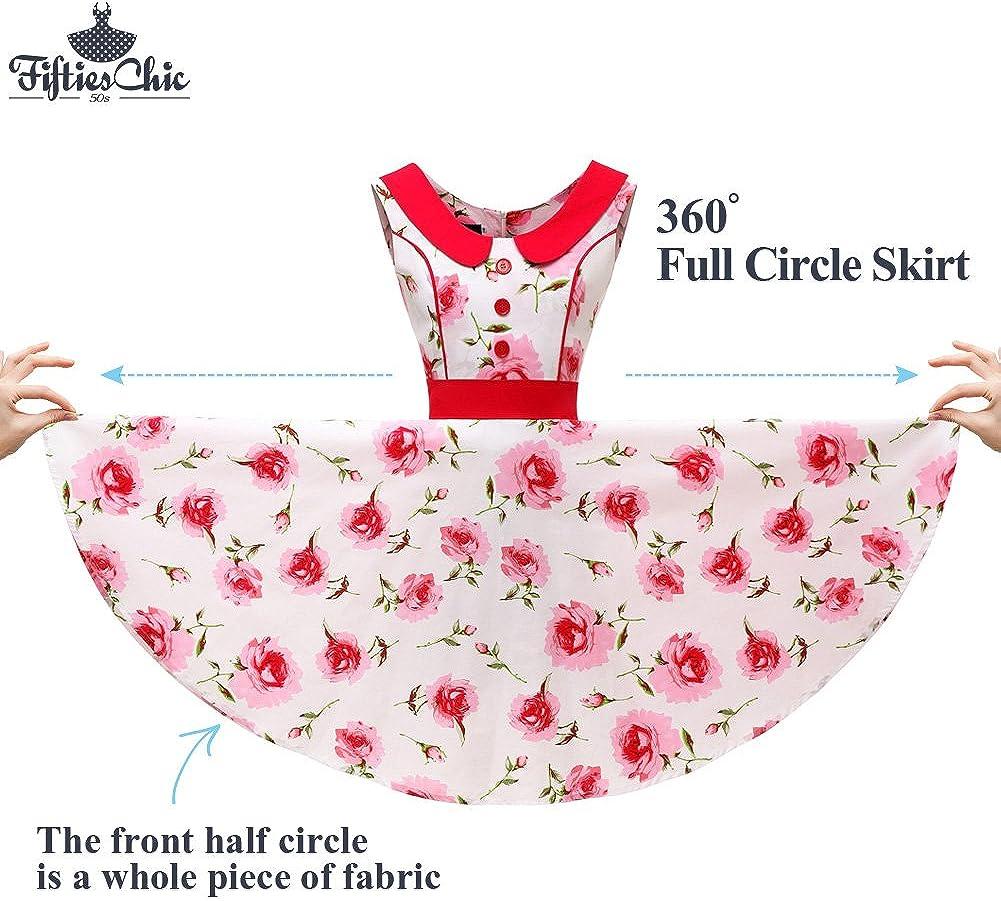stile vintage anni 50 con cuciture colorate stile rockabilly Abiti da donna FiftiesChic senza maniche 100/% cotone