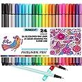 JX Rumcent GA-02 Colored Fineliner Pen,Pack of 24 Assorted Colors,Fine Point Sketch Drawing Marker Pens,Fibre Needle Tip 0.4MM