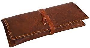 "Leder Nature""Felix"" Genuine Leather Stationery Pencil Pen Case Art Pouch Office Uni College Smart Everyday Vintage Unisex Brown"
