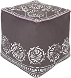 Surya KSPF-021 Kate Spain 100-Percent Cotton Pouf, 18-Inch by 18-Inch by 18-Inch, Ivory/Chocolate/Charcoal