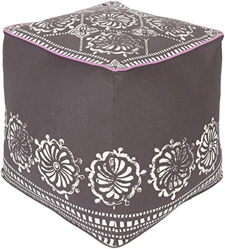 Surya KSPF-021 Kate Spain 100-Percent Cotton Pouf, 18-Inch by 18-Inch by 18-Inch, Ivory/Chocolate/Charcoal by Surya
