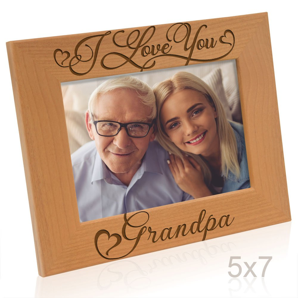 Kate Posh I Love You Grandpa-Natural Wood Engraved Picture Frame-Father's Day Gifts, Christmas Gifts, Gifts for Grandfather, Grandparent's Day Gits, New Grandma Picture Frame (5x7-Horizontal)