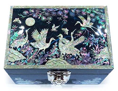 MADDesign Jewelry Box Ring Organizer Hand Made Mother of Pearl Sea Shell Inlay Mirror Lid Crane Blue