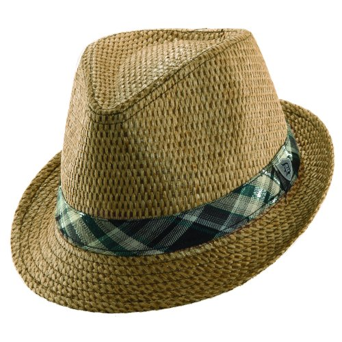Dorfman Pacific Matte Toyo Fedora with Plaid Hat (M, Brown)