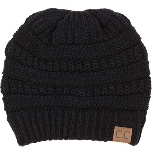 Cambridge Select Winter White Ivory Thick Slouchy Knit Oversized Beanie Cap  Hat (Black) b7b3ca6d33e