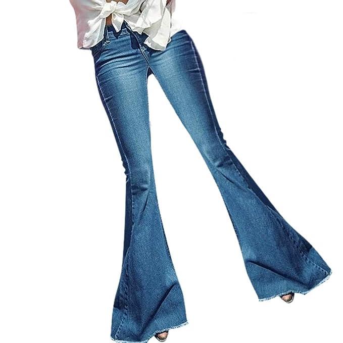b94830c7 BODOAO Women Flare Jeans Hight Waisted Wide Leg Denim Jeans Pants Jeans Blue