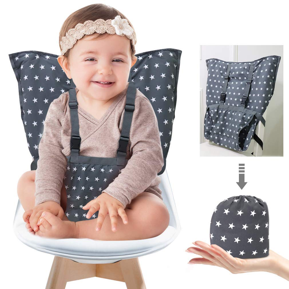 Portable Baby High Chair Safety Seat Harness for Toddler, Travel Easy High Booster Seat Cover for Infant Eating Feeding Camping with Adjustable Straps Shoulder Belt,Holds Up to 38lbs. by MINGRI