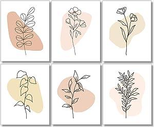 Line Art - Minimalist Decor - Floral Abstract Prints (Set of 6) - 8x10 - Unframed