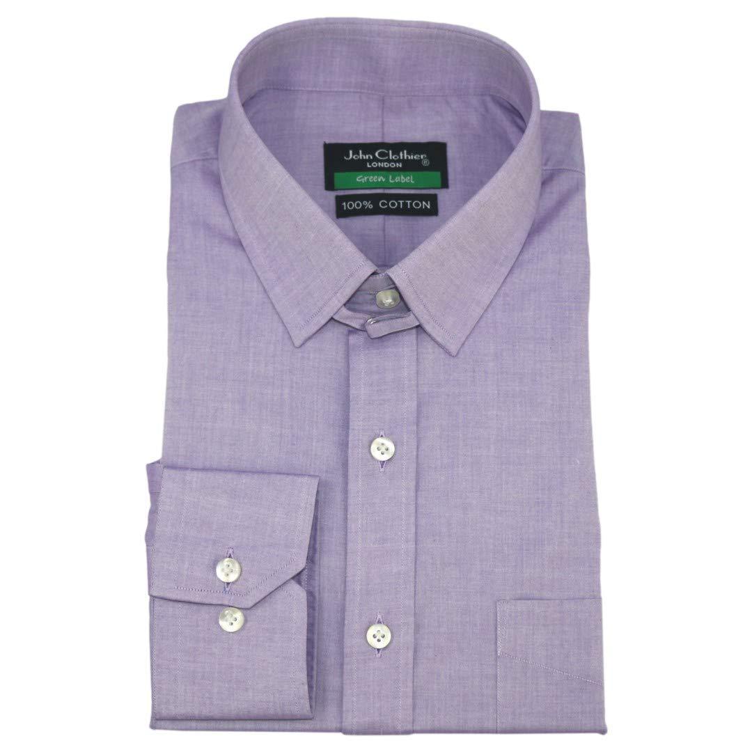 blancPilotShirts Hommes Tab Chemise Col 100% violets Mauve Mélange Boucle Collier Long Manches Manchette Simple pour 300-08