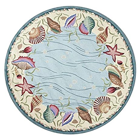 KAS Oriental Rugs Colonial Collection Ocean Surprise Round Area Rug, 7u0027 X  6u0026quot;