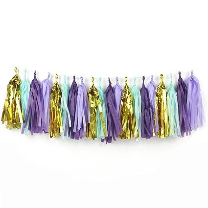 Amazon Com Sunbeauty 20pcs Purple Mint Gold Color Handmade Tissue