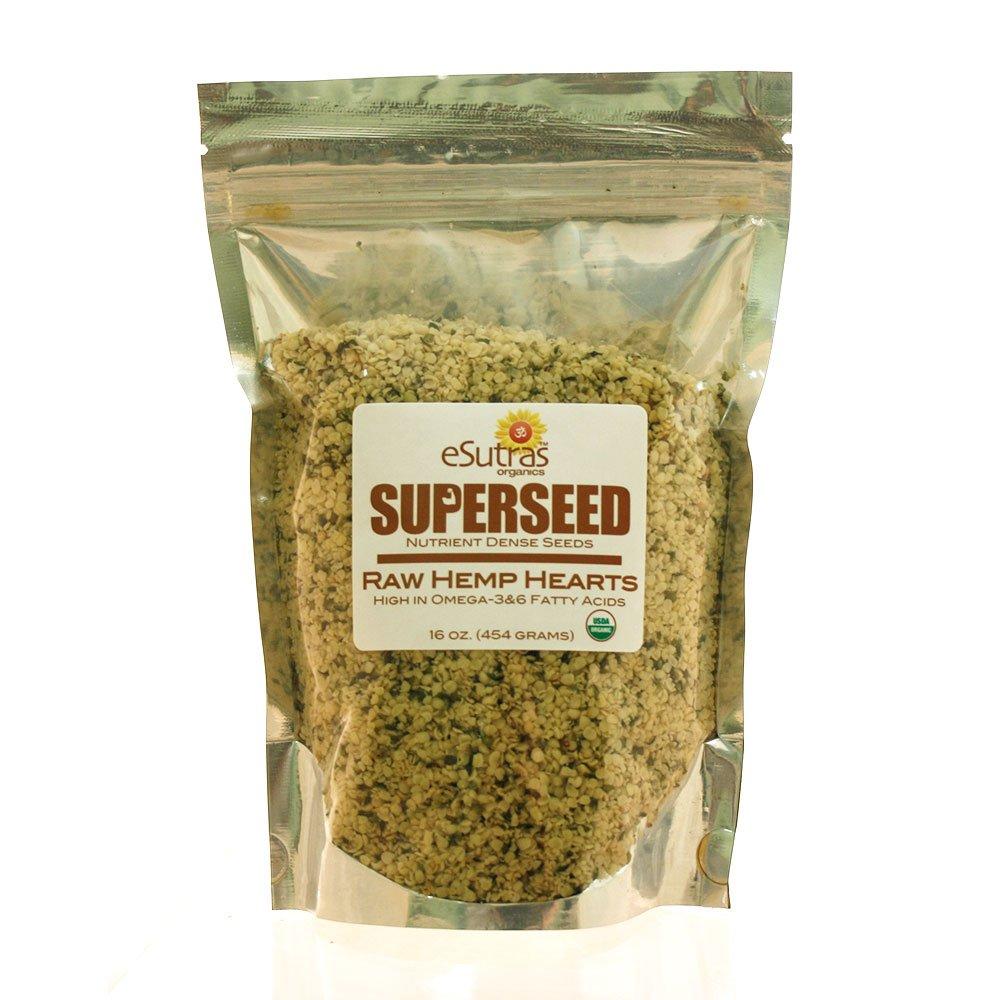 Esutras Organics Raw Hemp Seed Hearts, 16 Ounce