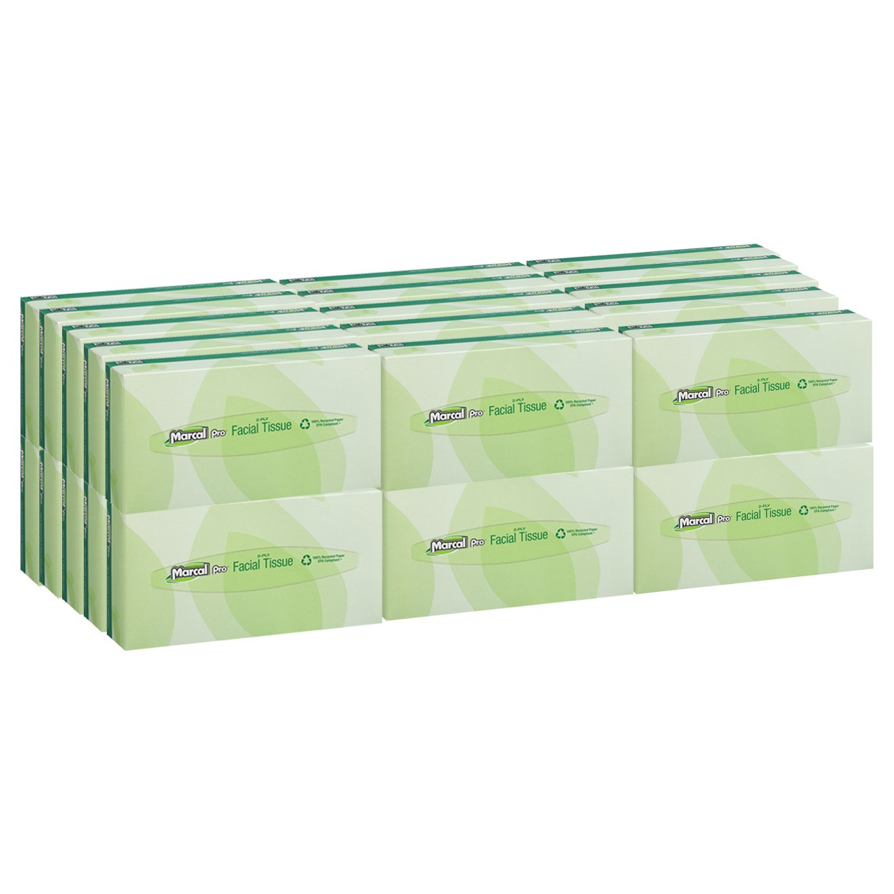 Marcal Pro Facial Tissue - 100 Tissues in a Flat Tissue Box - 100% Recycled Soft Tissue Paper - 30 Boxes Per Case 02930