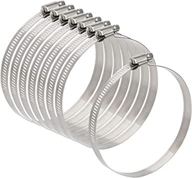 Abrazaderas Tubo Inoxidable Ajustable 91-114 Mm Clips de Manguera para Asegurar Mangueras y Tubos 4 Piezas
