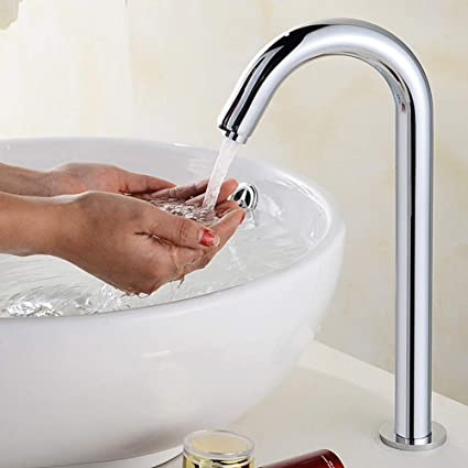 Touchless Bathroom Sink Faucet, G1/2in Automatic Induction Sensor Water  Faucet, Hands Free Basin Single Cold Tap with Control Box, for Home  Kitchen(3#- 1): Amazon.in: Home & Kitchen